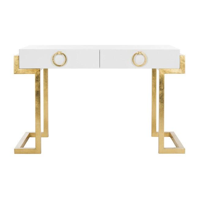 Maia 2-Drawer Desk, White/Gold Leaf
