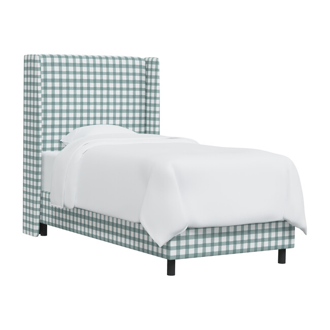 Quinn Wingback Bed, Powder Blue Gingham