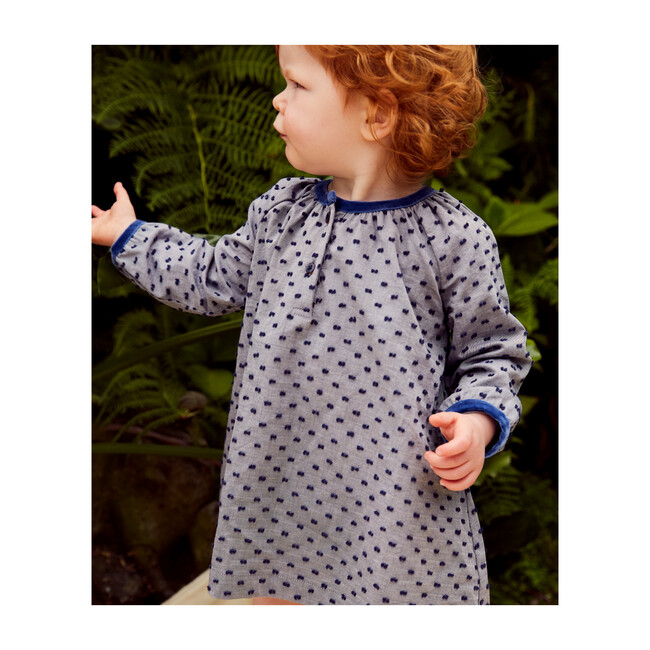 Elizabeth Baby Dress, Navy Swiss Dot