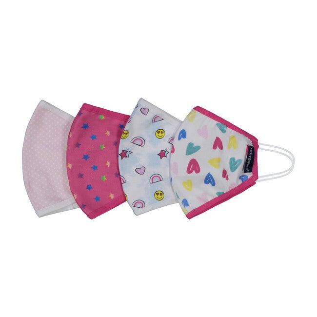 Girls 4-Pack Child Face Masks, Pink Prints