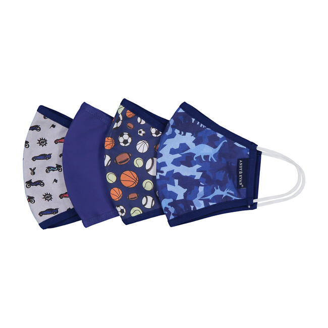Boys 4-Pack Child Face Masks, Navy Prints