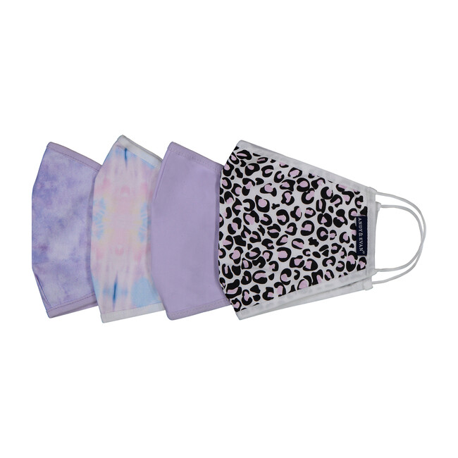 Girls 4-Pack Youth Face Masks, Purple Prints