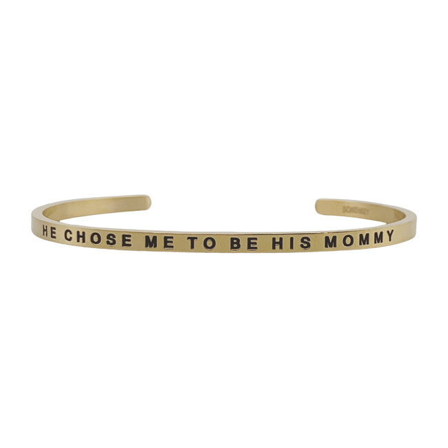 """Women's """"He Chose Me to Be His Mommy"""" Bracelet, Gold"""