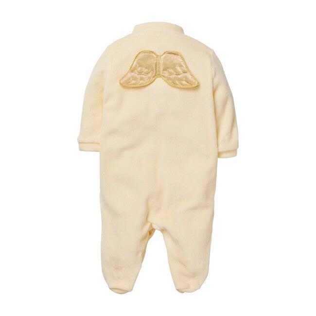 Velour Gold Angel Wing Bodysuit, Cream/ Gold