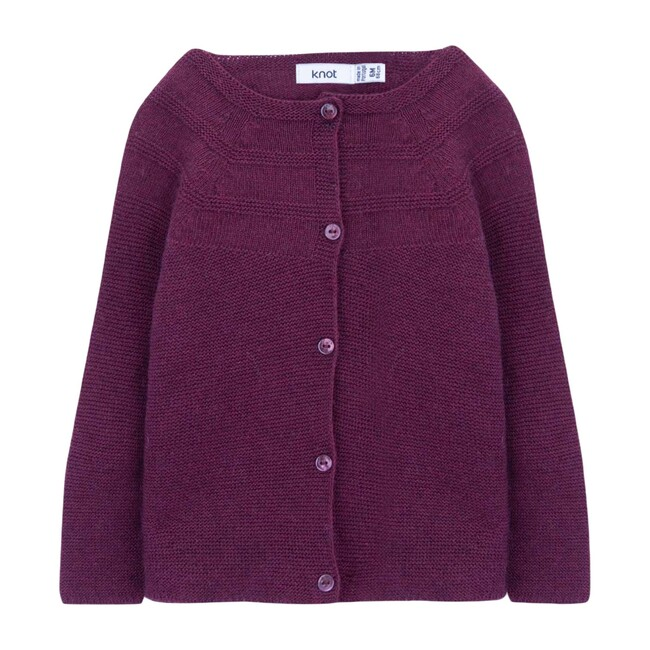 Antoinette Baby Knitted Cardigan, Tawny Port Bordeaux