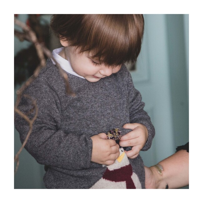Meet Kevin Baby Knitted Sweater, Cloudburst Grey