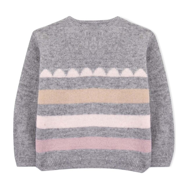 Charlotte Baby Sweater, Grey Stripes - Sweaters - 1