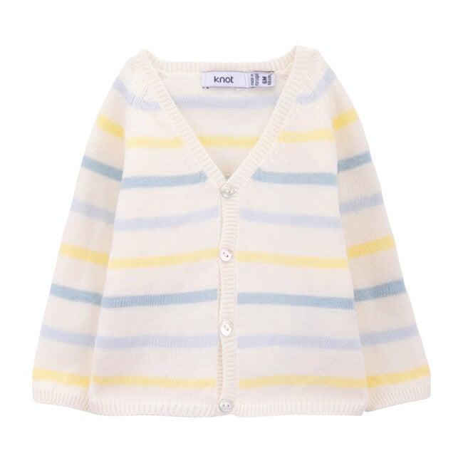 Dahila Cardigan, Blue & Yellow Stripes
