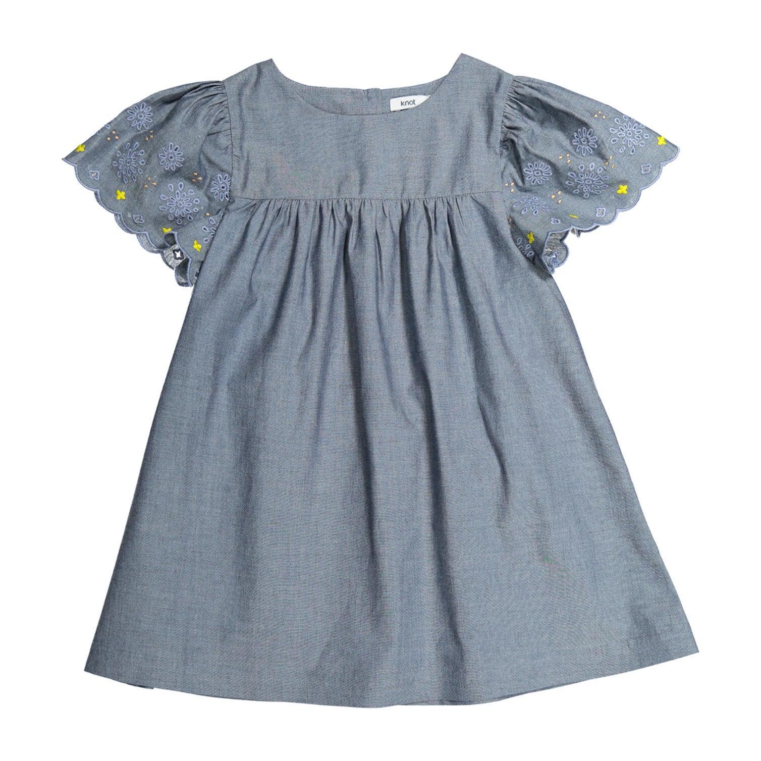 Embroidered Chambray Dress, Medium Denim