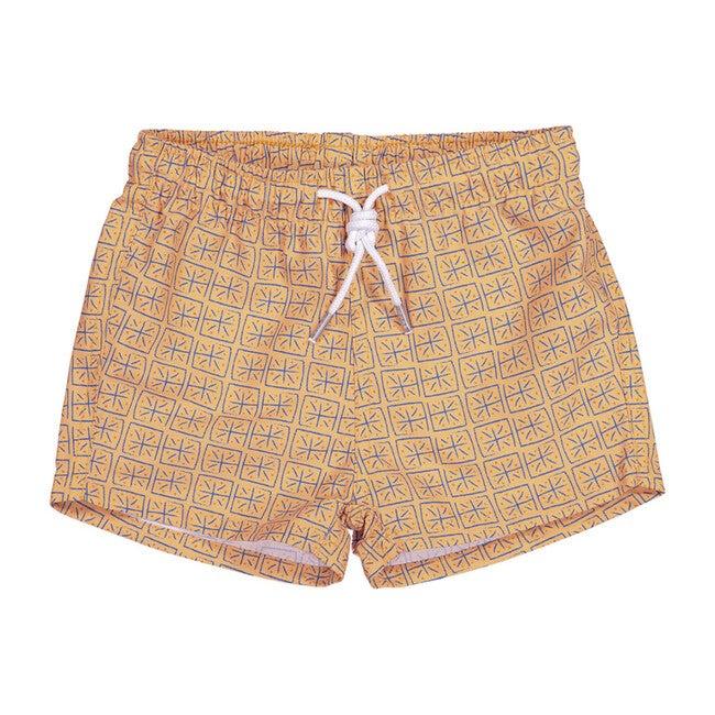 Batik Squares Swim Shorts, Orange - Shorts - 1