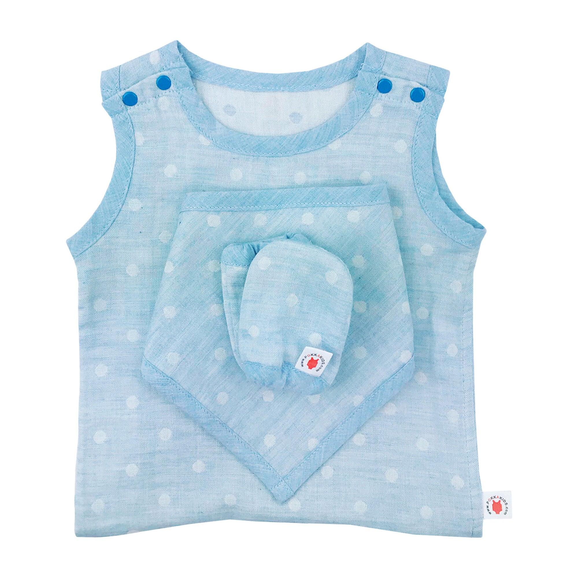 100% GOTS-Certified Organic Cotton Newborn Gift Set, Turquoise