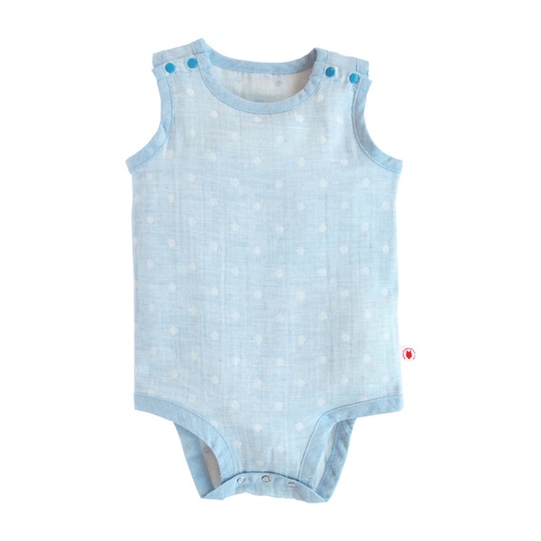 100% GOTS-Certified Organic Cotton Sleeveless Bodysuit, Turquoise