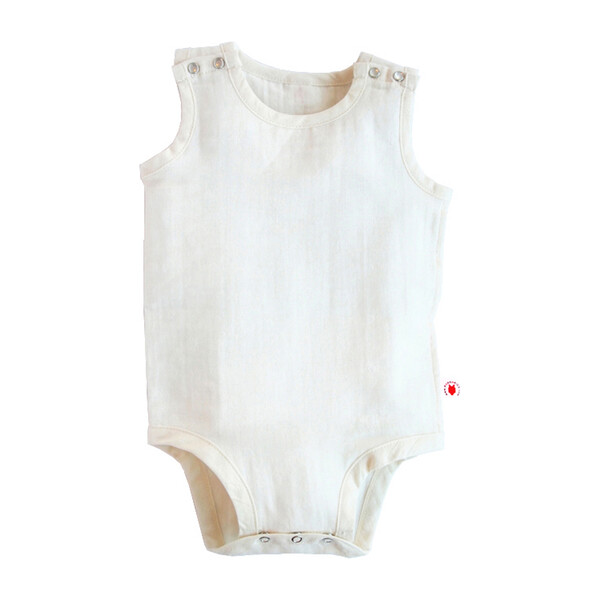 100% GOTS-Certified Organic Cotton Sleeveless Bodysuit, Pearl
