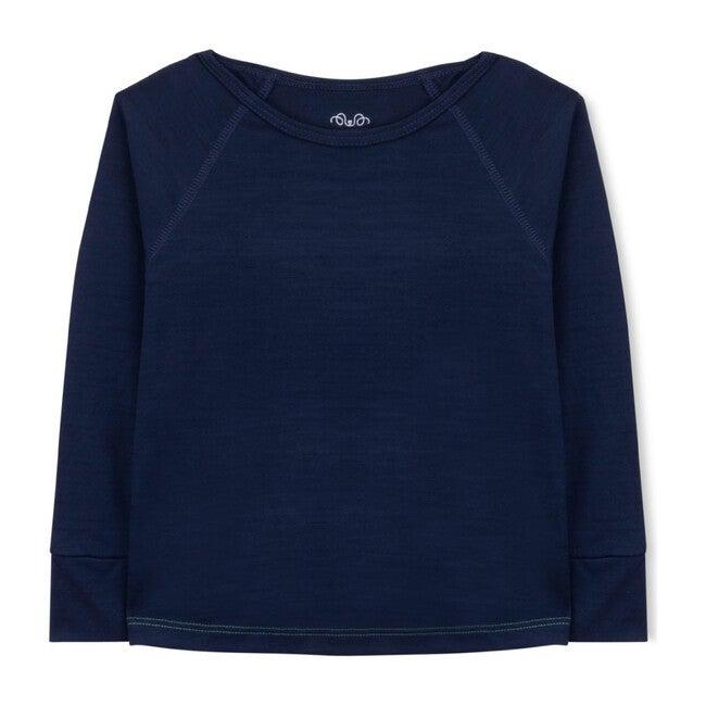 Long Sleeve Shirt, Navy Merino Wool
