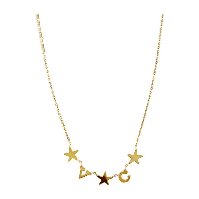 Initial Necklace with Stars