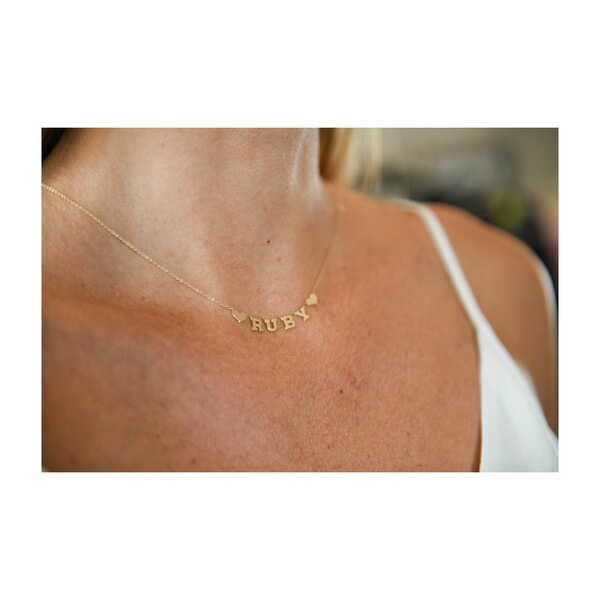 Name Necklace with Hearts
