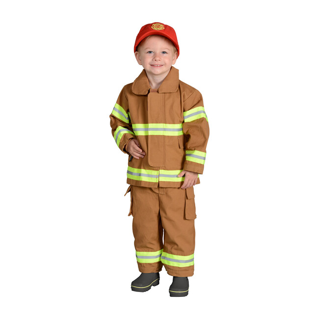 Jr. Firefighter Suit with Embroidered Cap, Tan