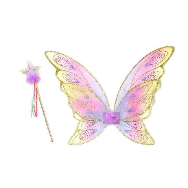 Glitter Rainbow Wings & Wand Bundle, Gold