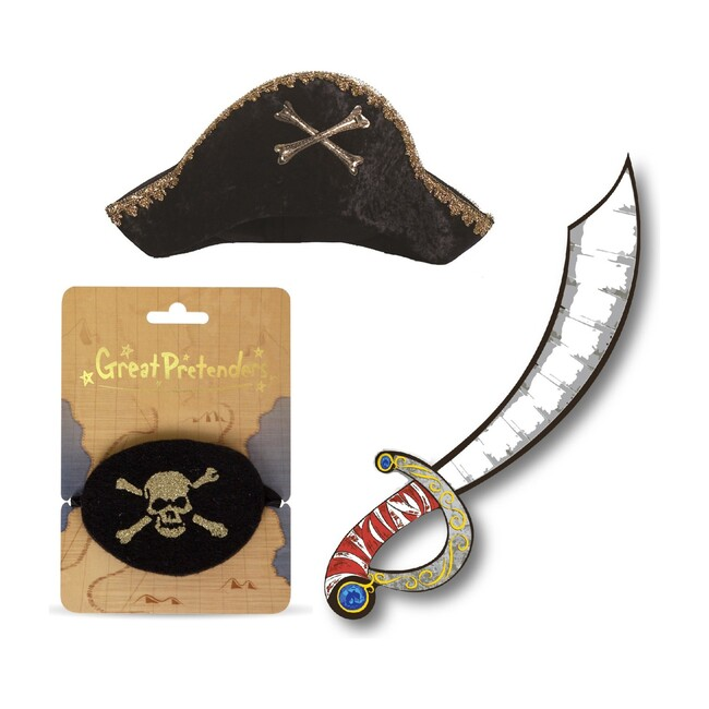 Captain Hook Hat, Pirate Sword and Eye Patch - Costume Accessories - 1