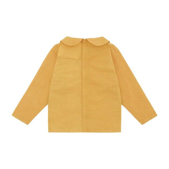 Organic Woven Long Sleeve Collared Shirt, Mustard Yellow