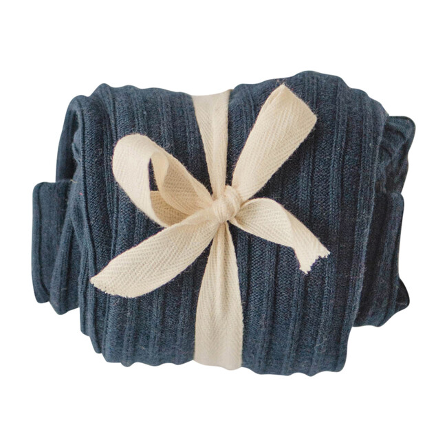 Ribbed Cotton Tights, Navy