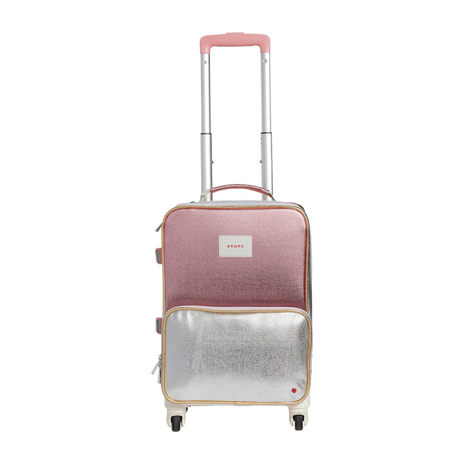 Mini Logan Suitcase, Pink and Silver
