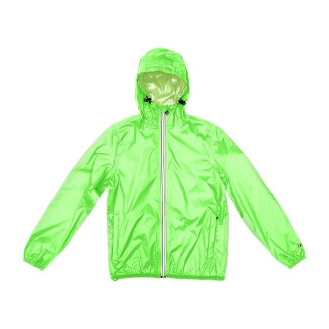 Sam Packable Rain Jacket, Green Fluo