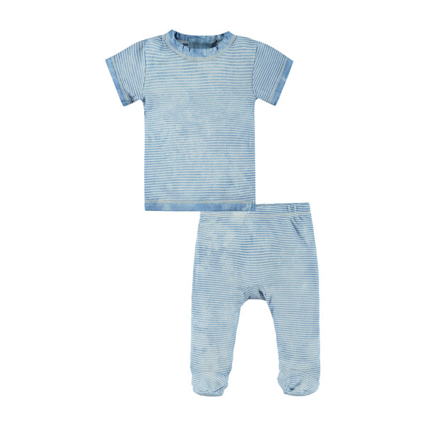 Classic Layette Short Sleeve Stripe Tee and Footie, Blue Tie Dye