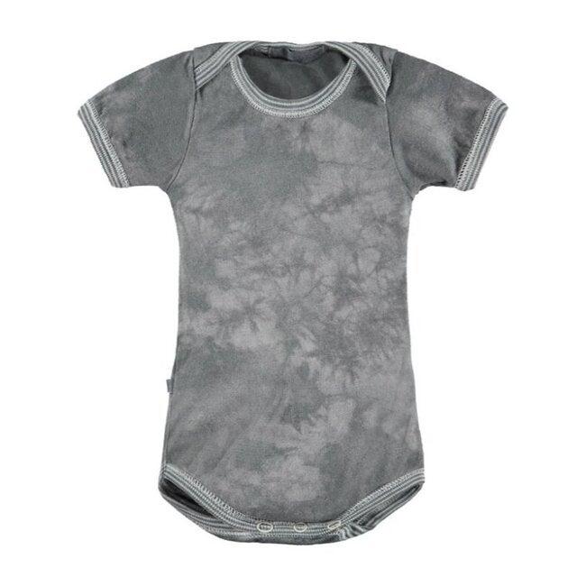 Classic Layette Short Sleeve Bodysuit, Grey Tie Dye