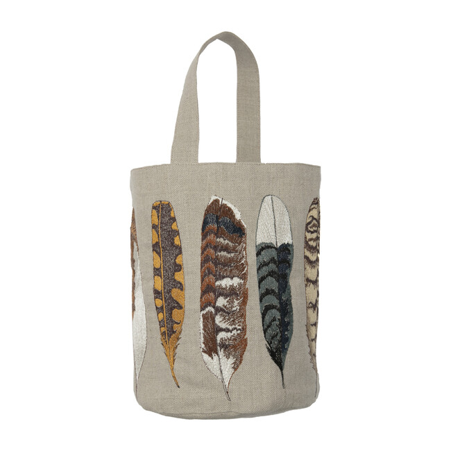Feather Embroidered Linen Bucket Bag