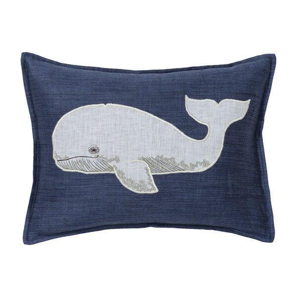 Whale Appliqué Pillow, Navy