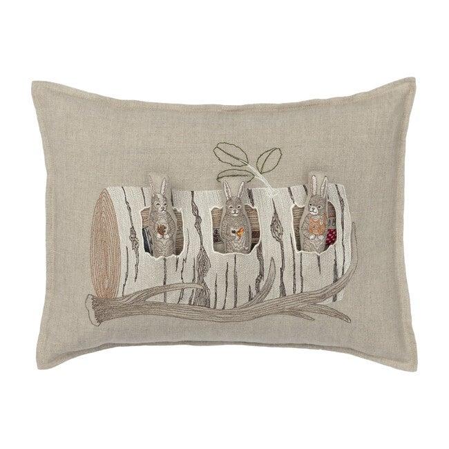 Aspen Log Bunnies Pocket Pillow