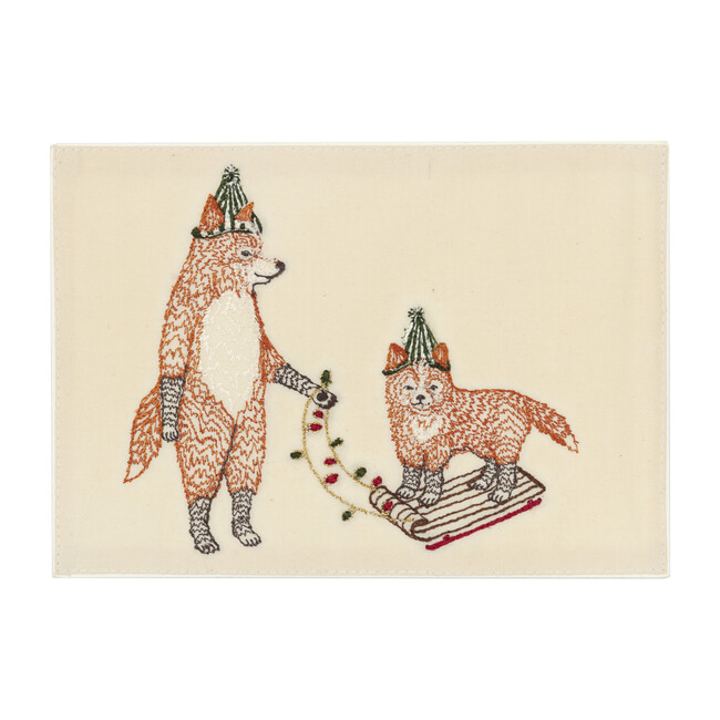 Christmas Fox on Sled Embroidered Card