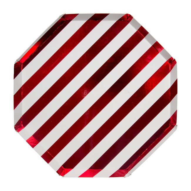 Shiny Red Stripe Dinner Plates