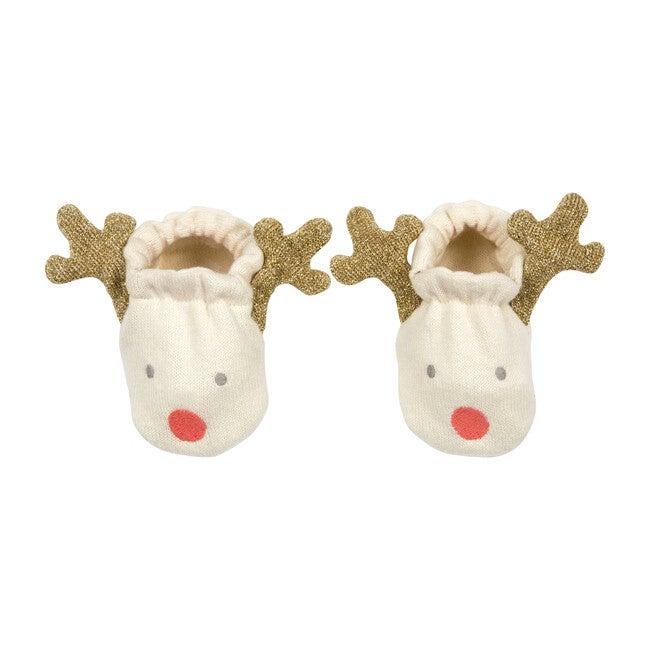 Reindeer Baby Booties, Cream