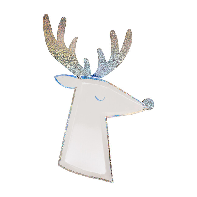 Silver Sparkle Reindeer Plates - Party - 1 - zoom