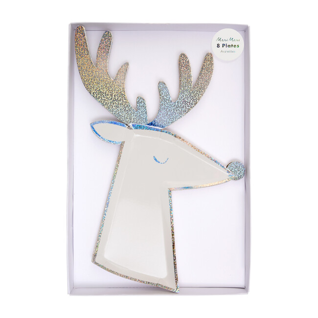 Silver Sparkle Reindeer Plates