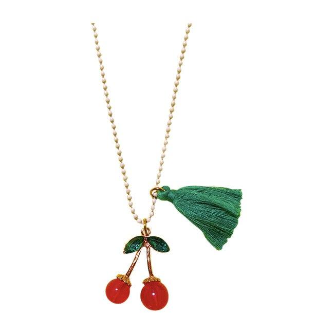 Rhinestone Cherries Necklace