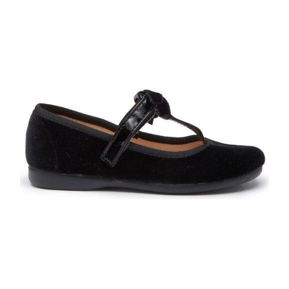T-Strap Velvet Party Shoes, Black