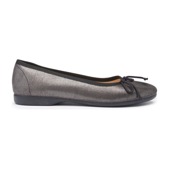 Shimmer Leather Ballet Flats, Noir