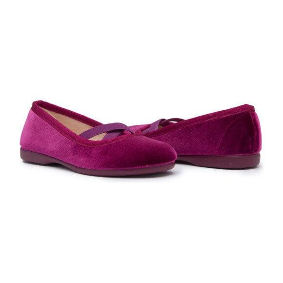 Criss Cross Velvet Ballet Flats, Violet