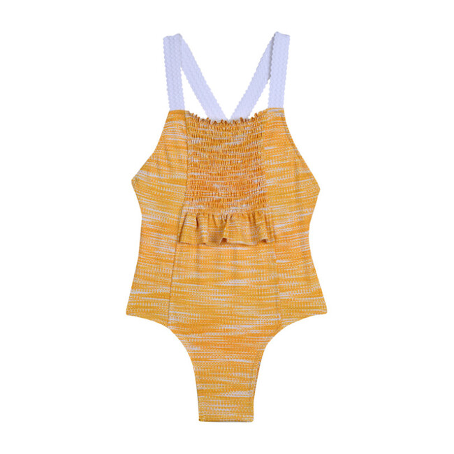Smocked Swimsuit, Ikat Marigold - One Pieces - 1