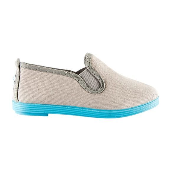 Canvas Slip-On Color Sole, Grey/Turquoise