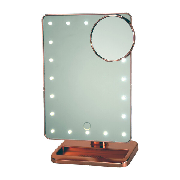 LED Vanity Mirror with Bluetooth Speakers, Rose Gold