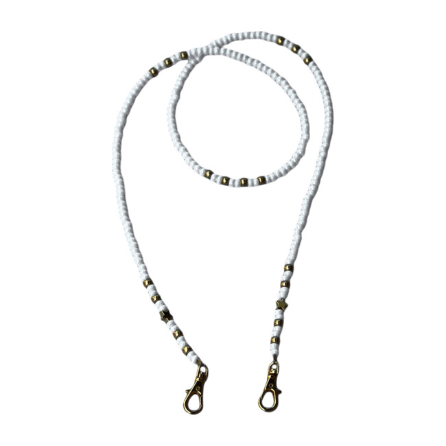 Beaded Face Mask Chain, White & Silver with Silver Stars