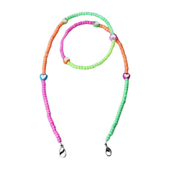 Beaded Face Mask Chain, Neon Multi with Accent Hearts