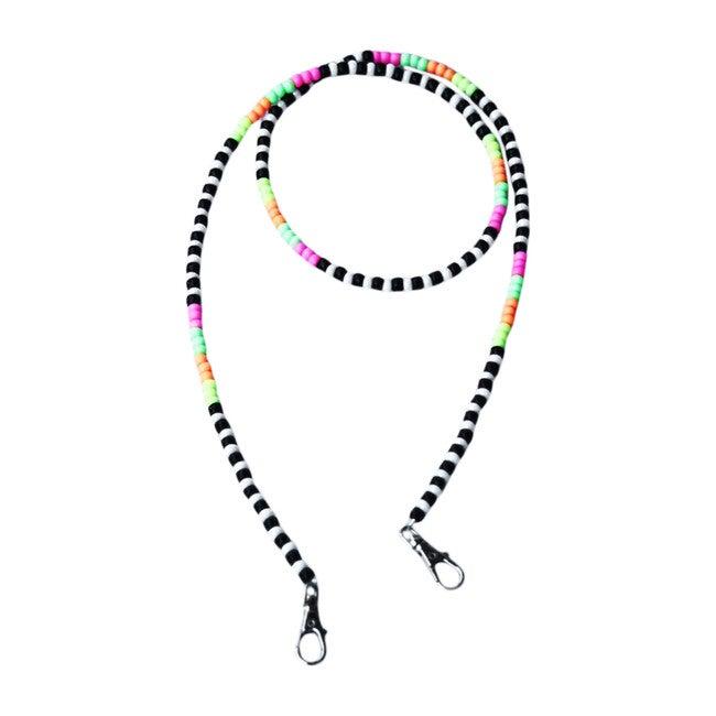 Beaded Face Mask Chain, Neon Multi Black & White Stripes
