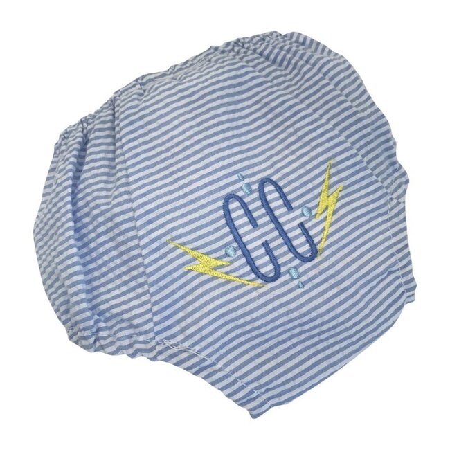 Monogrammable Seersucker Diaper Cover, Blue Stripes