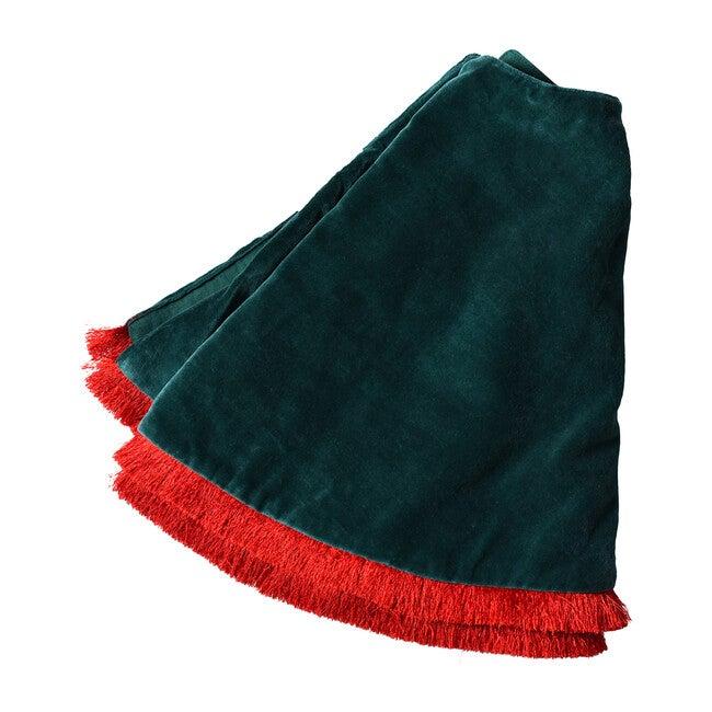 Velvet Tree Skirt With Trim, Pine