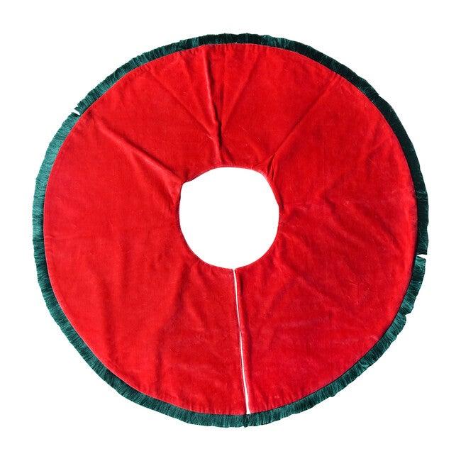 Velvet Tree Skirt With Trim, Red